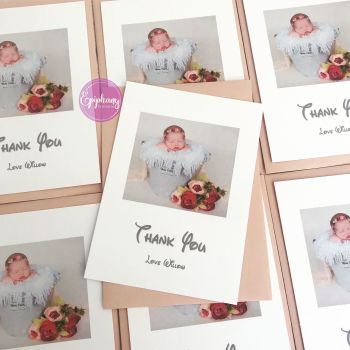 Baby Girl Thank You Postcard with Photo - Pack 10 - Stripes