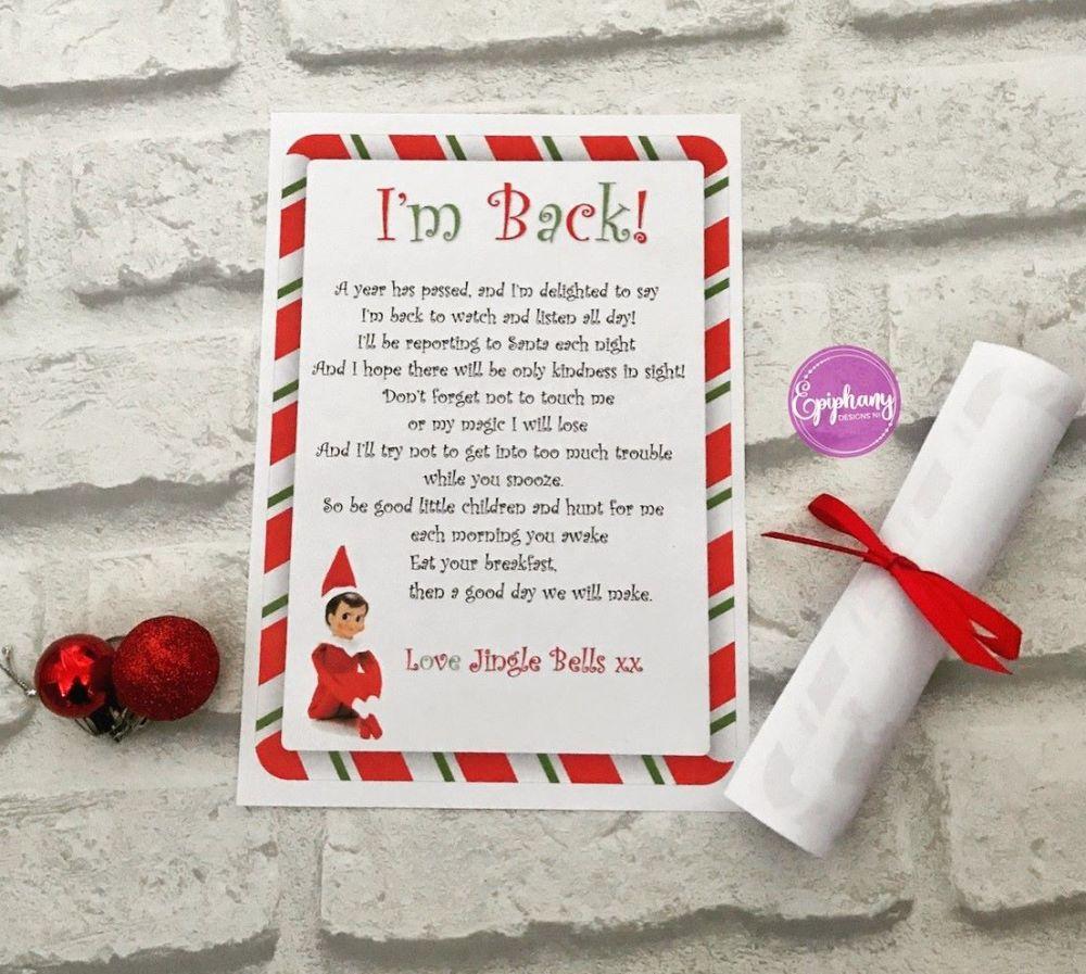 Elf on the Shelf Scroll - I'm Back