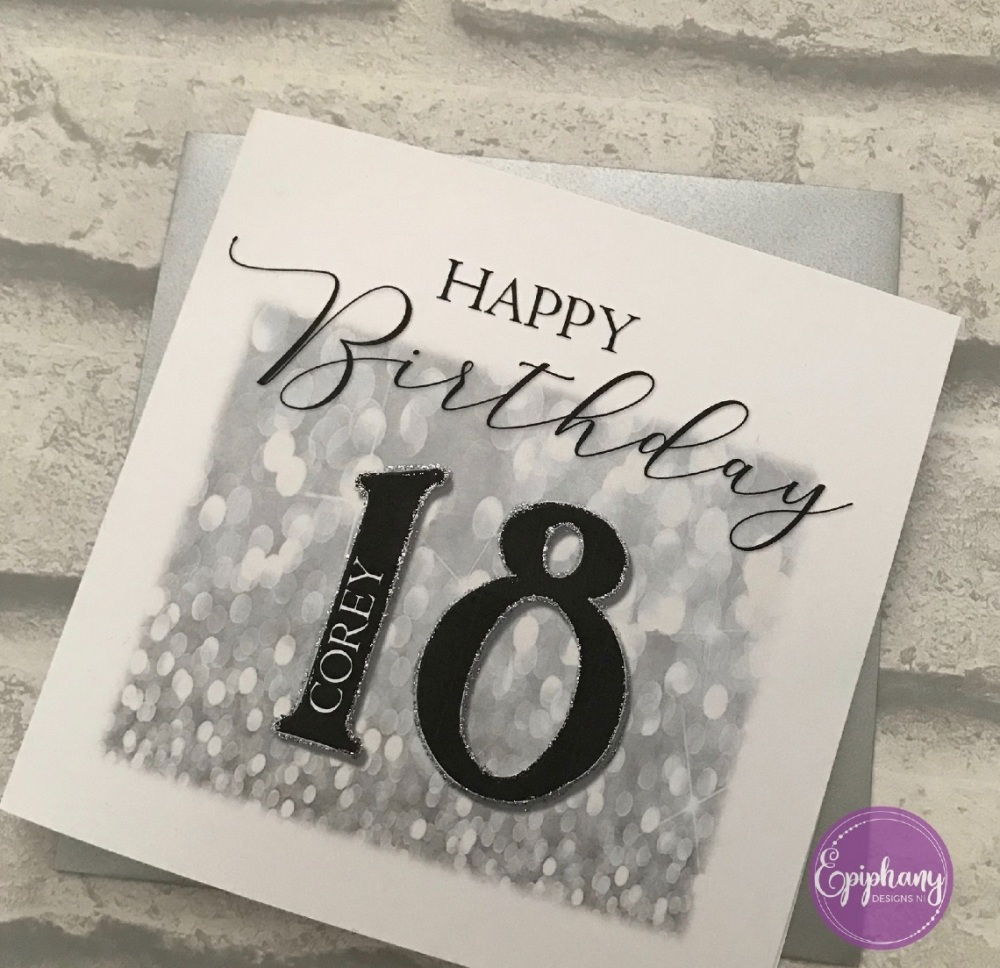 Chic Boutique - Birthday Card with age  - silver