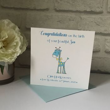 New Baby Congratulations Card with Birth Details - Cute Giraffe