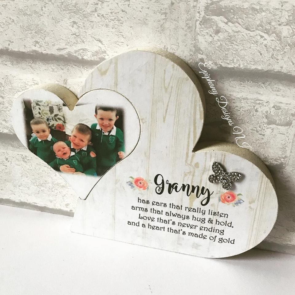 Freestanding Heart in Heart personalised with children's photo and quote