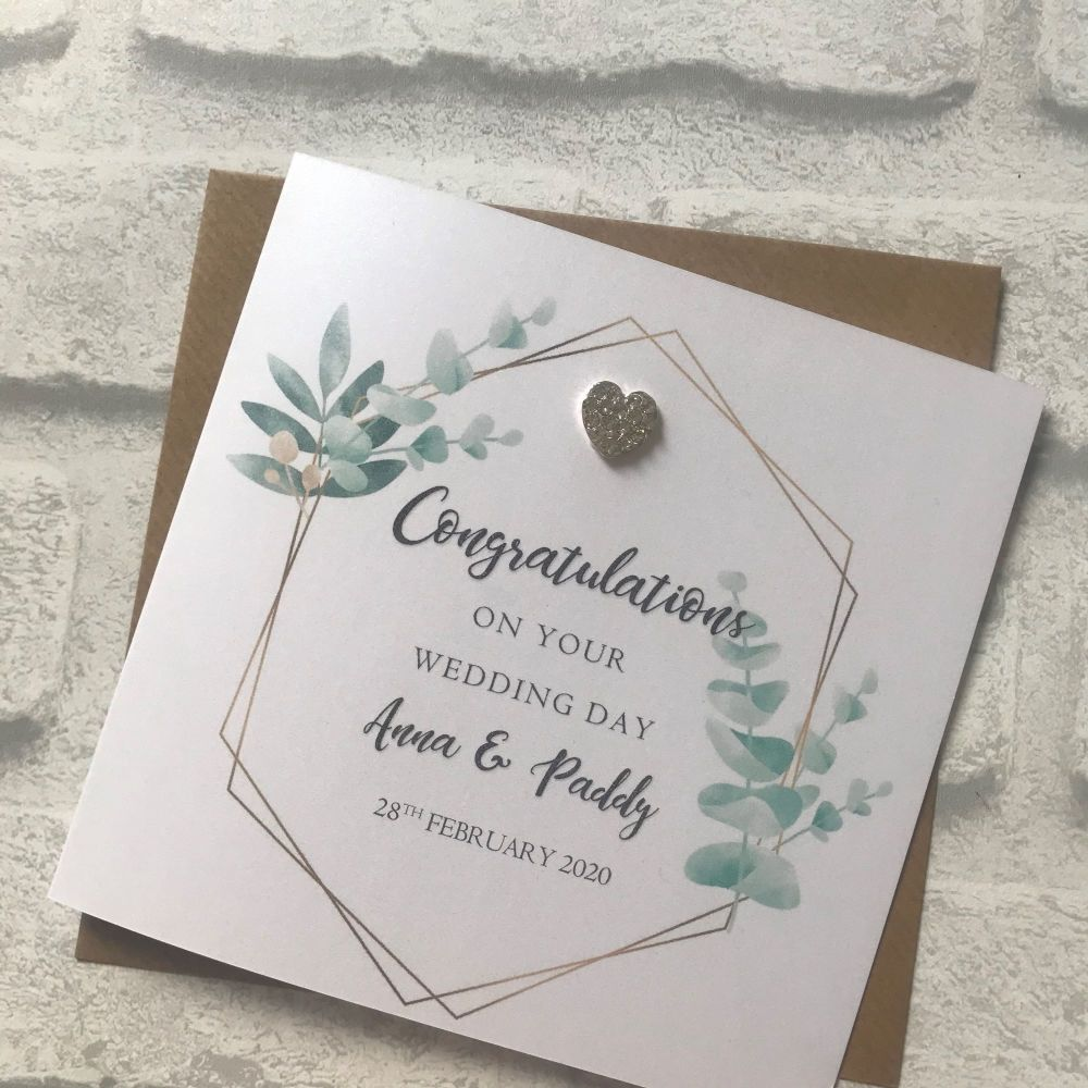 Chic Boutique -  Wedding Congratulations Card - succulent frame with heart