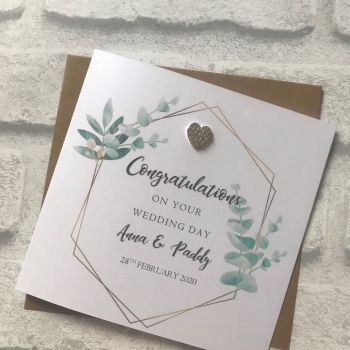 Chic Boutique -  Wedding Congratulations Card - eucalyptus frame with heart embellishment