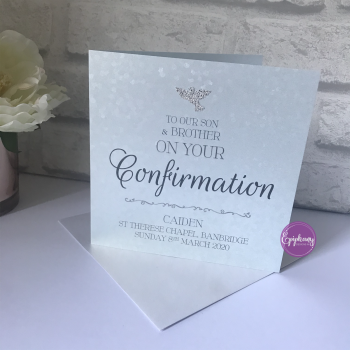 Chic Boutique Range  Boys Communion / Confirmation Sequins Card with Dove