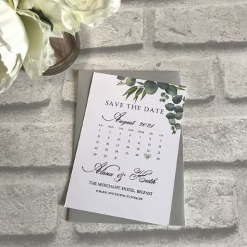 Save the Date - Green Leaf (pack 10)