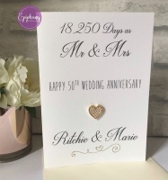 Wedding Anniversary Card with days and years married