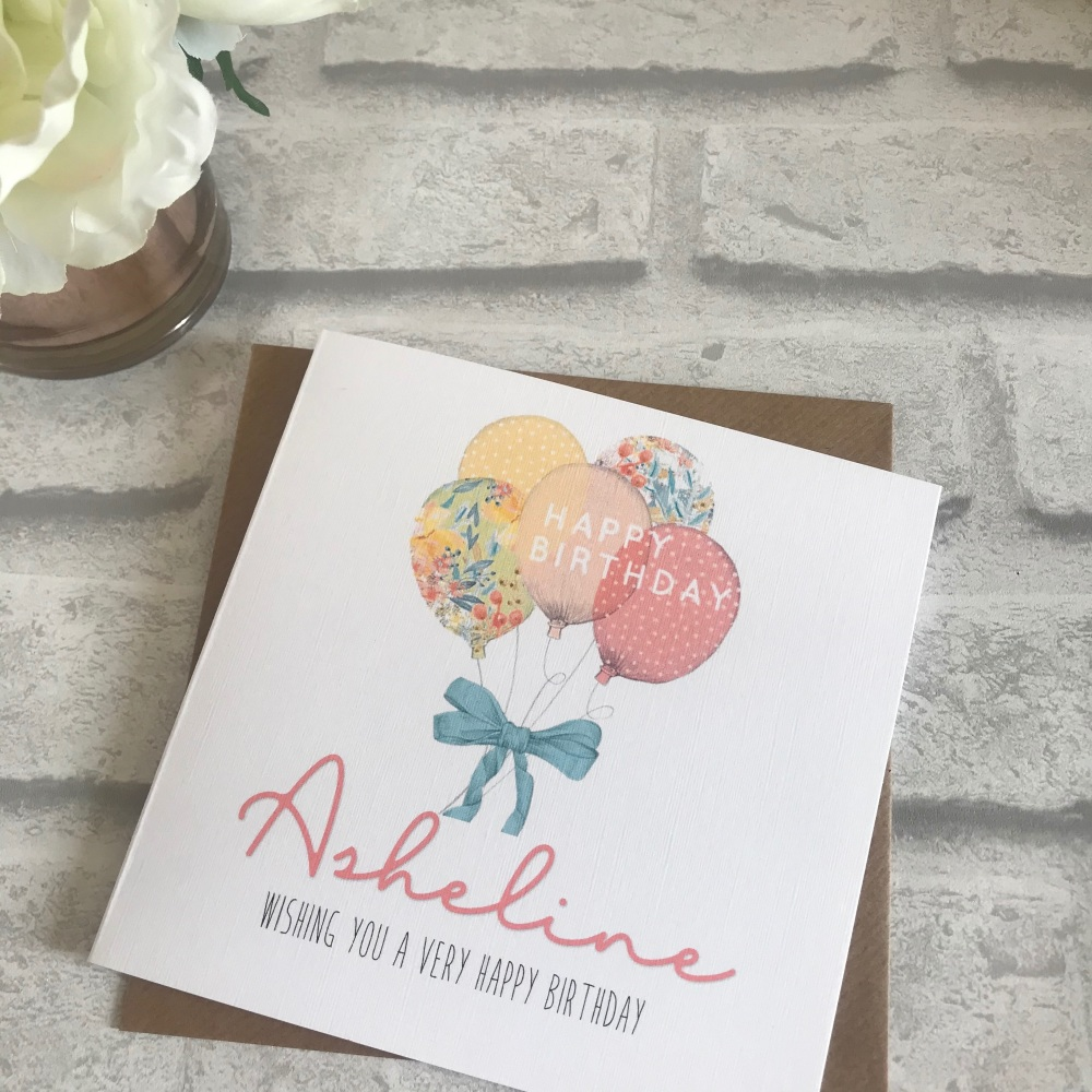 Birthday card - balloons - personalised
