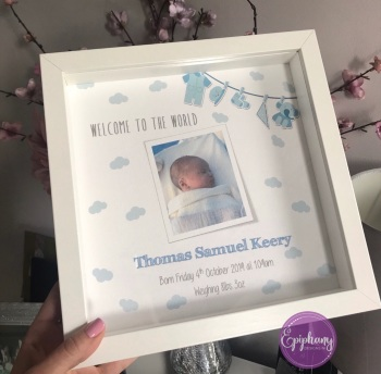 New Baby Box Frame with photo - Welcome to the world