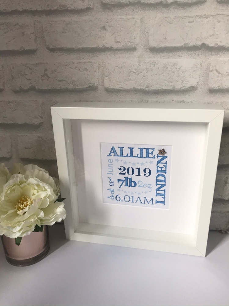 New Baby Typography Box Frame  - boy