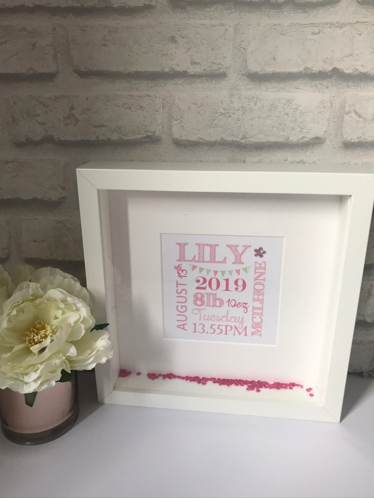 New Baby Typography Box Frame  - girl