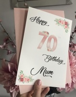 Floral Birthday card with Age - personalised