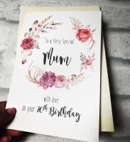 Vintage Wreath Birthday card with Age - personalised