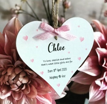 New Baby - heart plaque with birth details