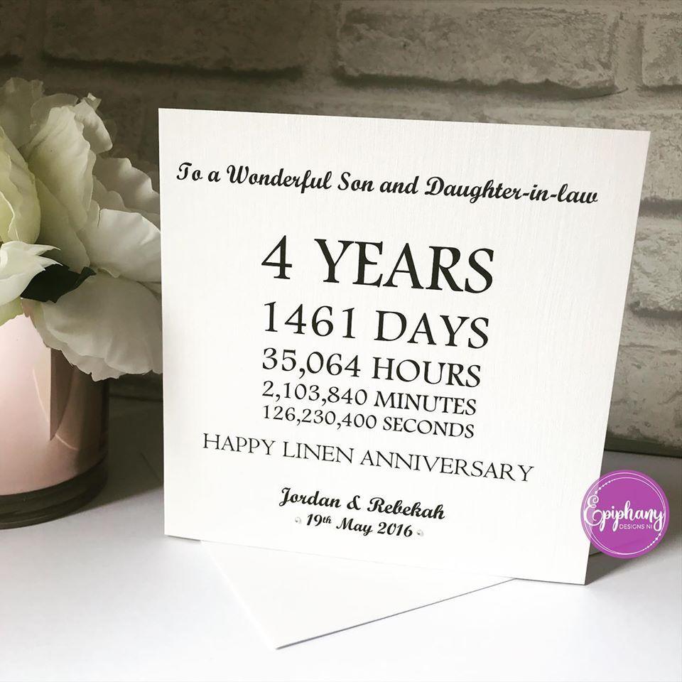 typography wedding anniversary card linen