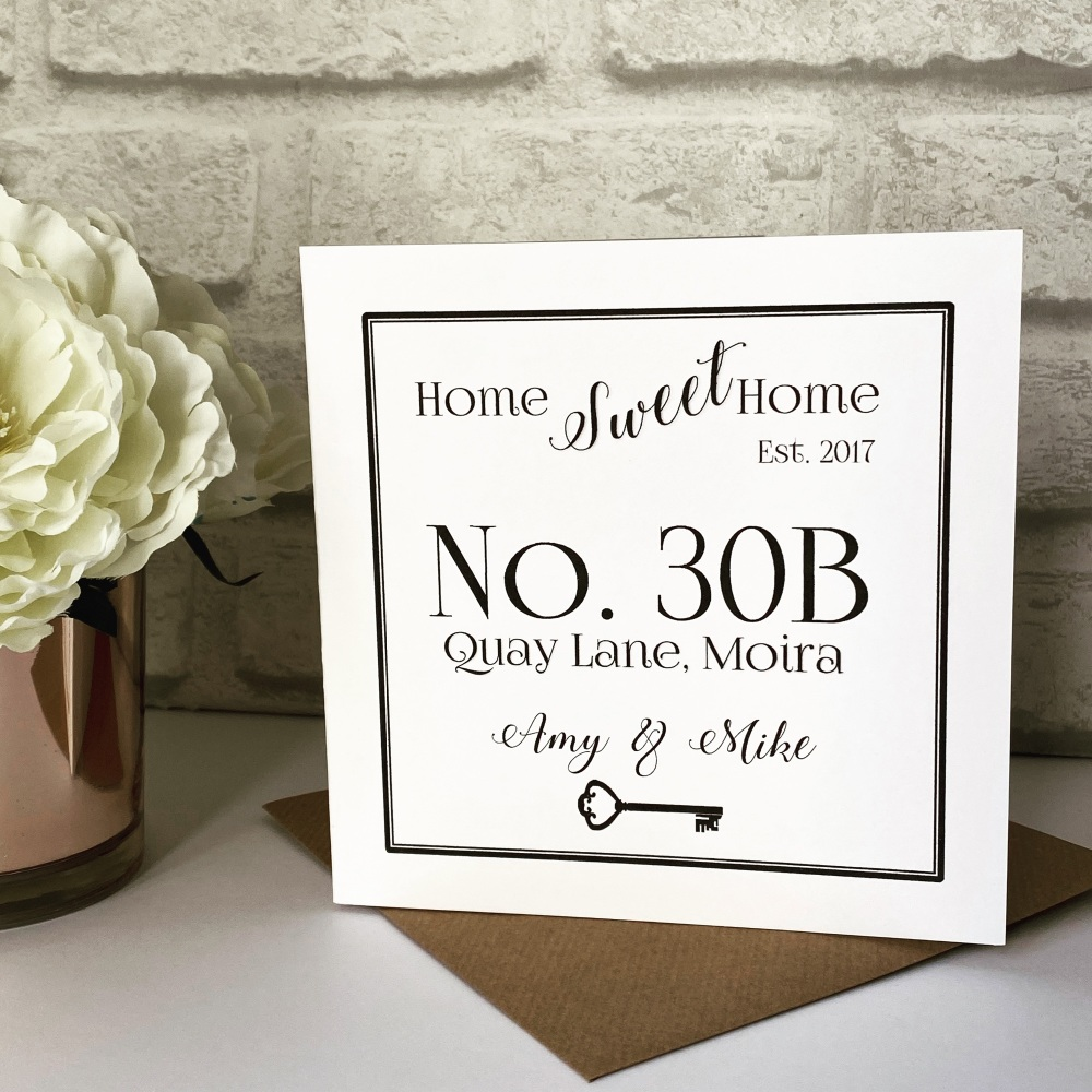 New Home Card Personalised with house number
