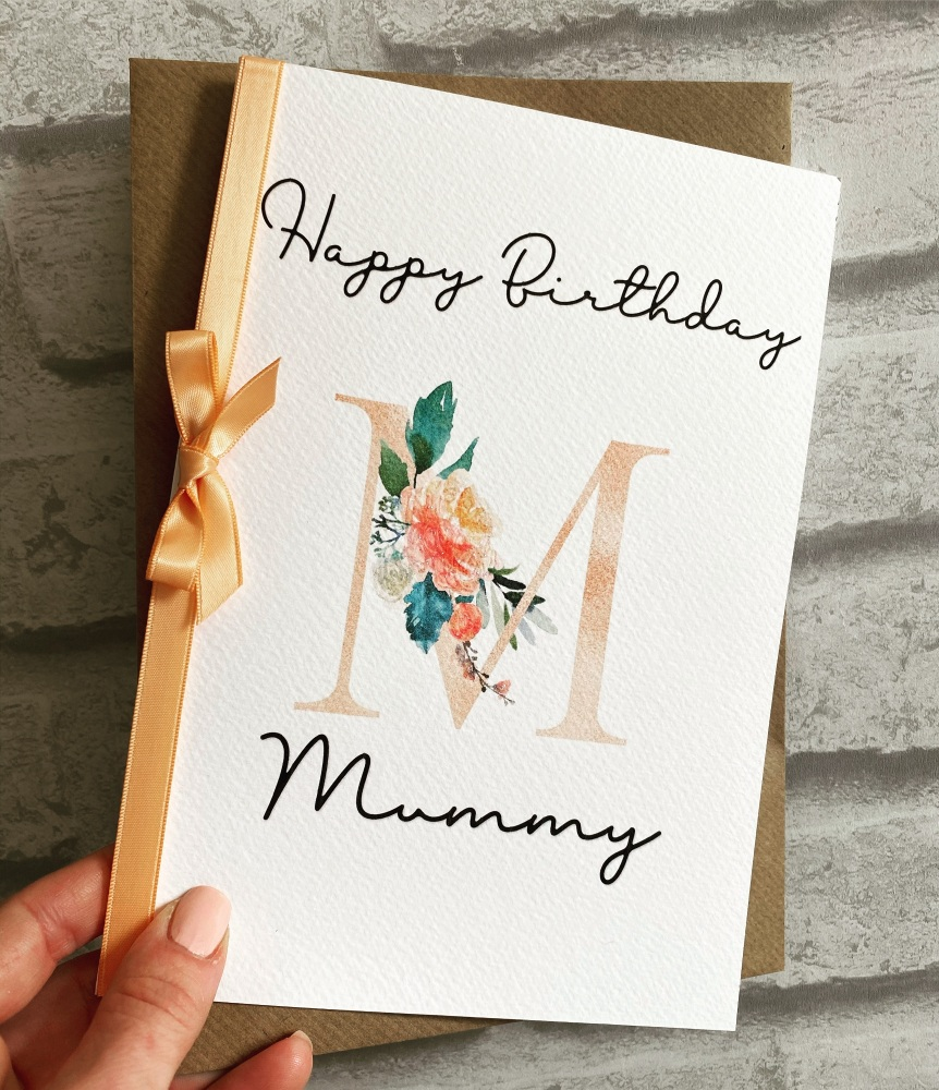 Birthday card - Floral Initial  - personalised