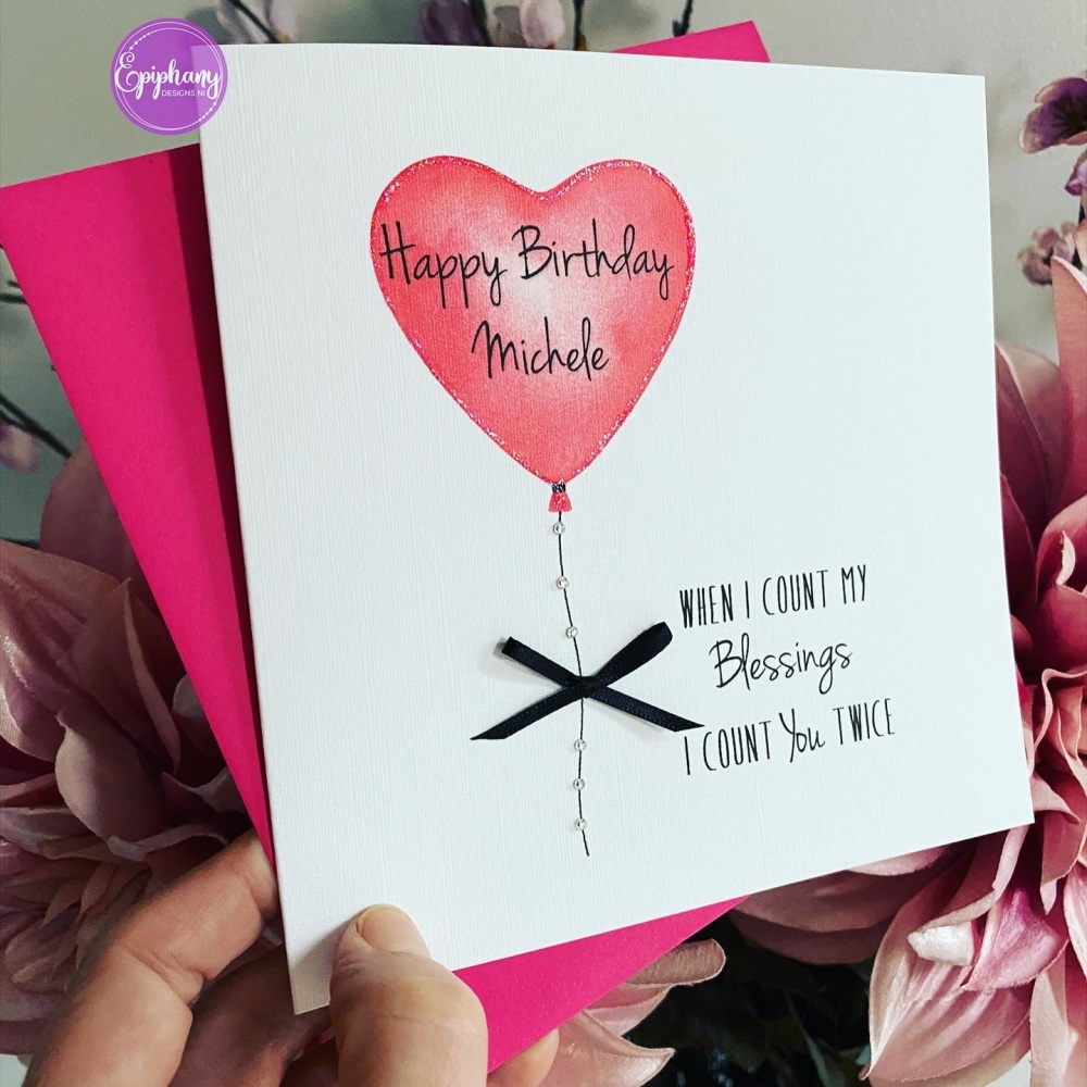 Birthday card— personalised - count my blessings
