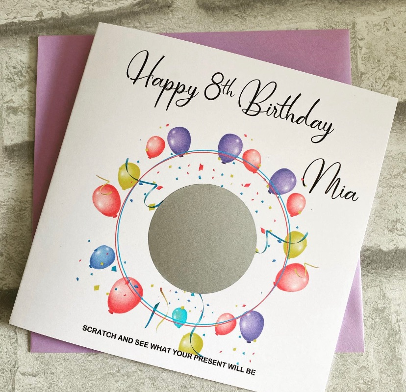 Scratch to Reveal Card - Balloons design