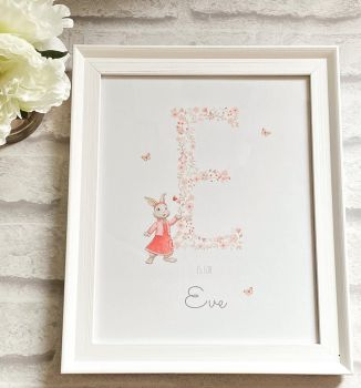 Floral Initial Print - Framed or Unframed