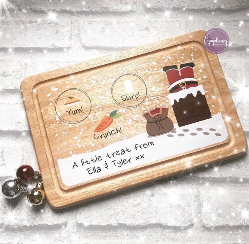Christmas Eve Board - personalised - Santa in chimney