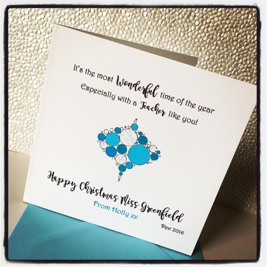 Teacher Christmas Card - Blue