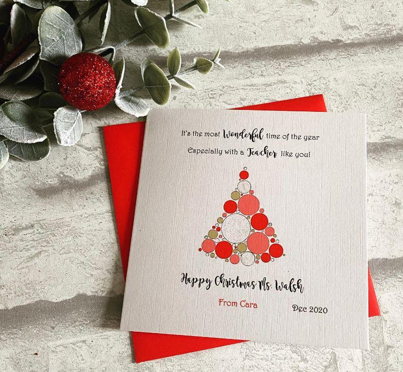 Teacher Christmas Card - Red
