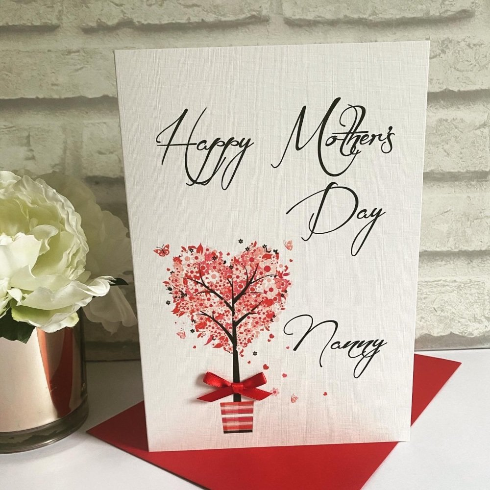Mothers Day Card with heart tree - Granny / Nanny