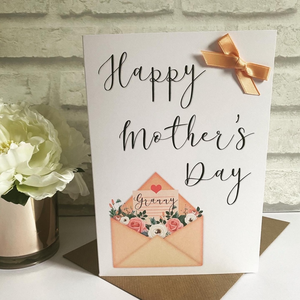 Mothers Day Card  - floral envelope - large card