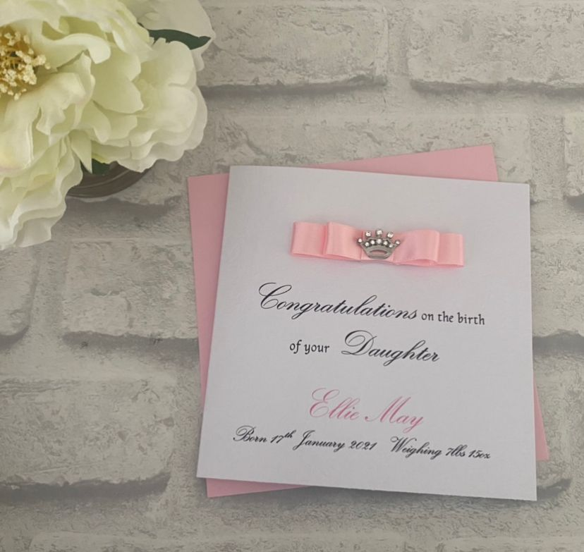 Chic Boutique Range New Baby Card with birth details
