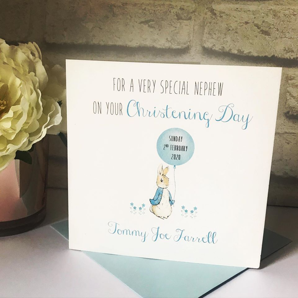 Christening Day Card Personalised - Peter Rabbit