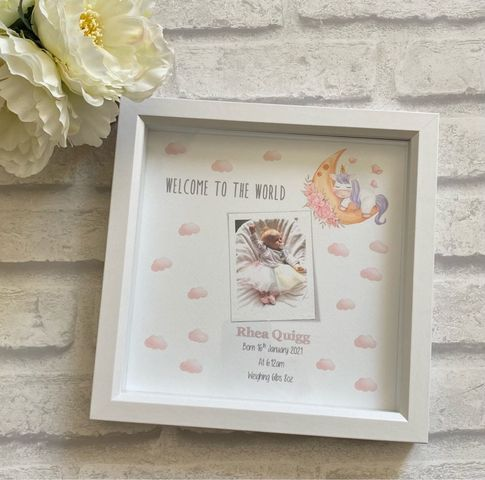 New Baby Box Frame with photo - Welcome to the world baby Girl