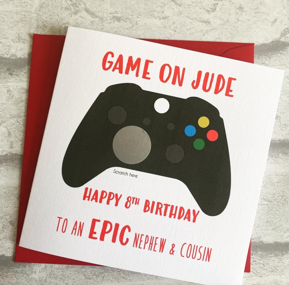 Scratch to Reveal Birthday Card - gamer, gaming