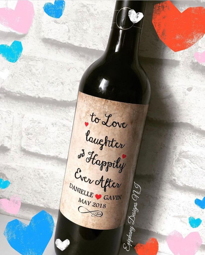 Engagement Congratulations - Happily Ever After -  Wine or Prosecco Bottle Label