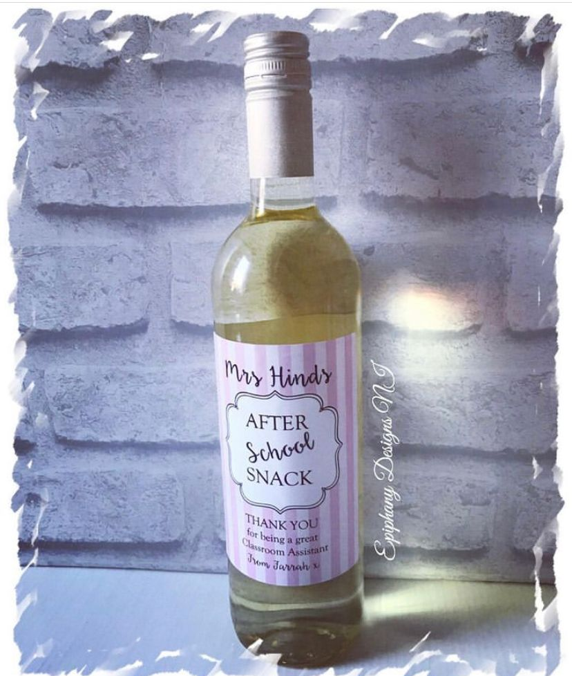 After school Snack - Teacher or Classroom Assistant - Wine bottle label