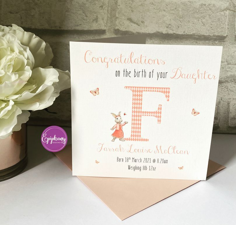 New Baby Congratulations Card with Birth Details - Peter Rabbit