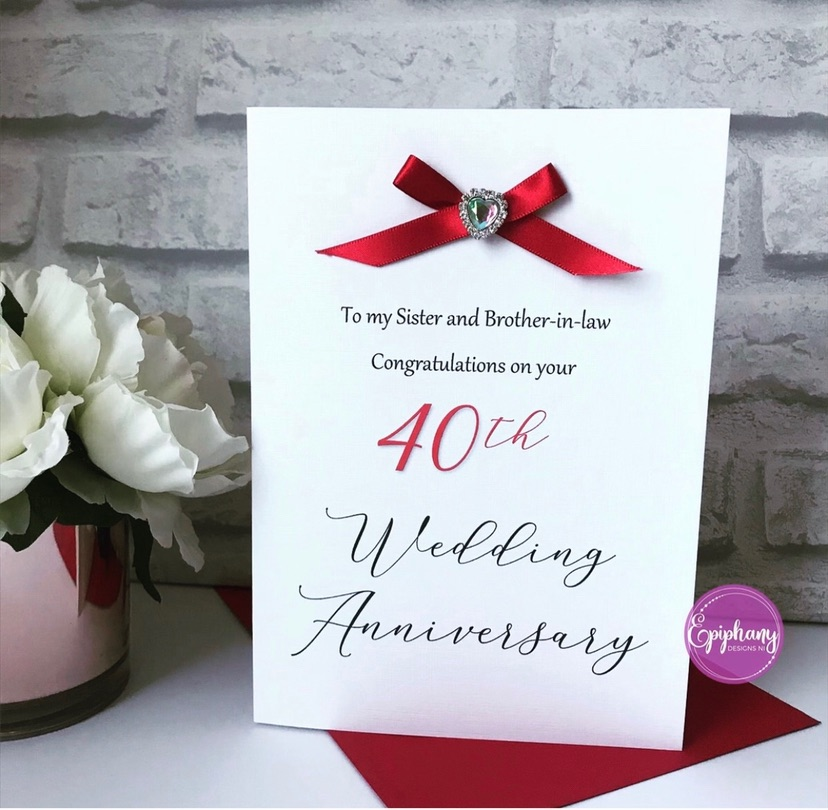Wedding Anniversary Card with bow and heart brooch