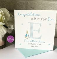 New Baby Boy Congratulations Card with Birth Details - Peter Rabbit