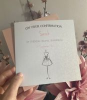 Holy Communion / Confirmation card - dress - white