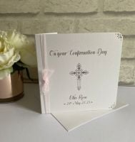 Holy Communion or Confirmation Congratulations Card Personalised with organza ribbon