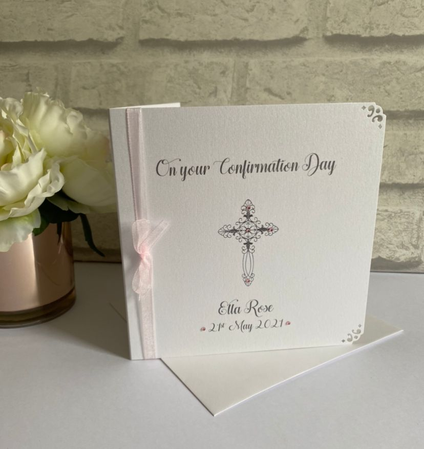 Holy Communion or Confirmation Congratulations Card Personalised with organ