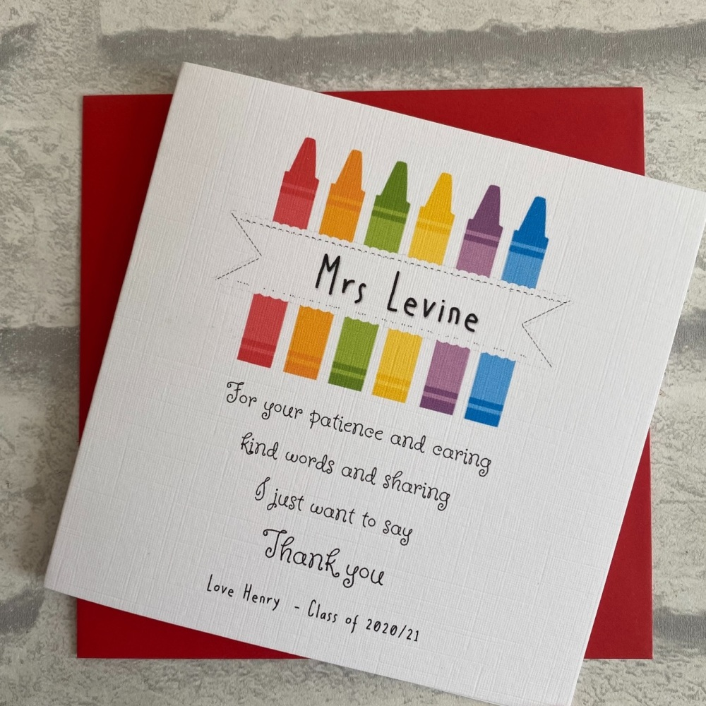 Teacher / Classroom Assistant Thank You Card - crayon