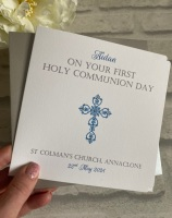 Holy Communion / Confirmation Congratulations Card Personalised Boys Ornate cross