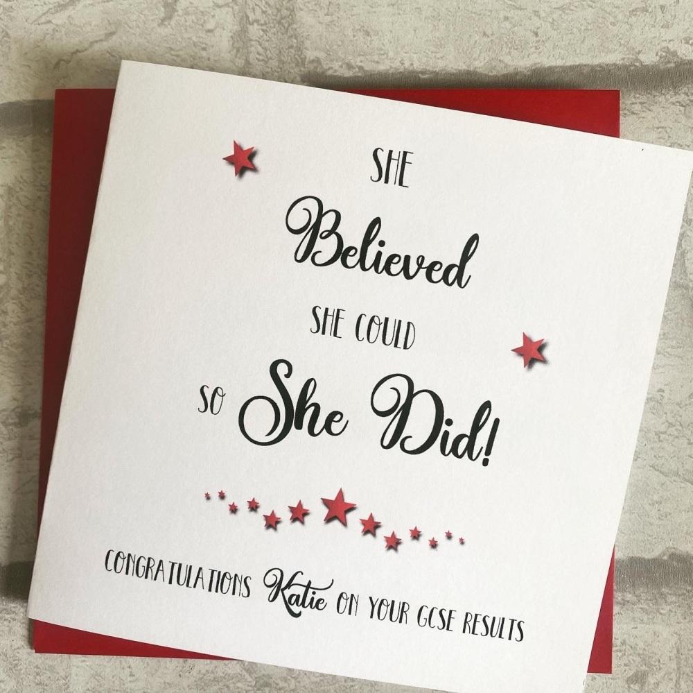 Exam congratulations card - He or She believed - A Level, GCSE