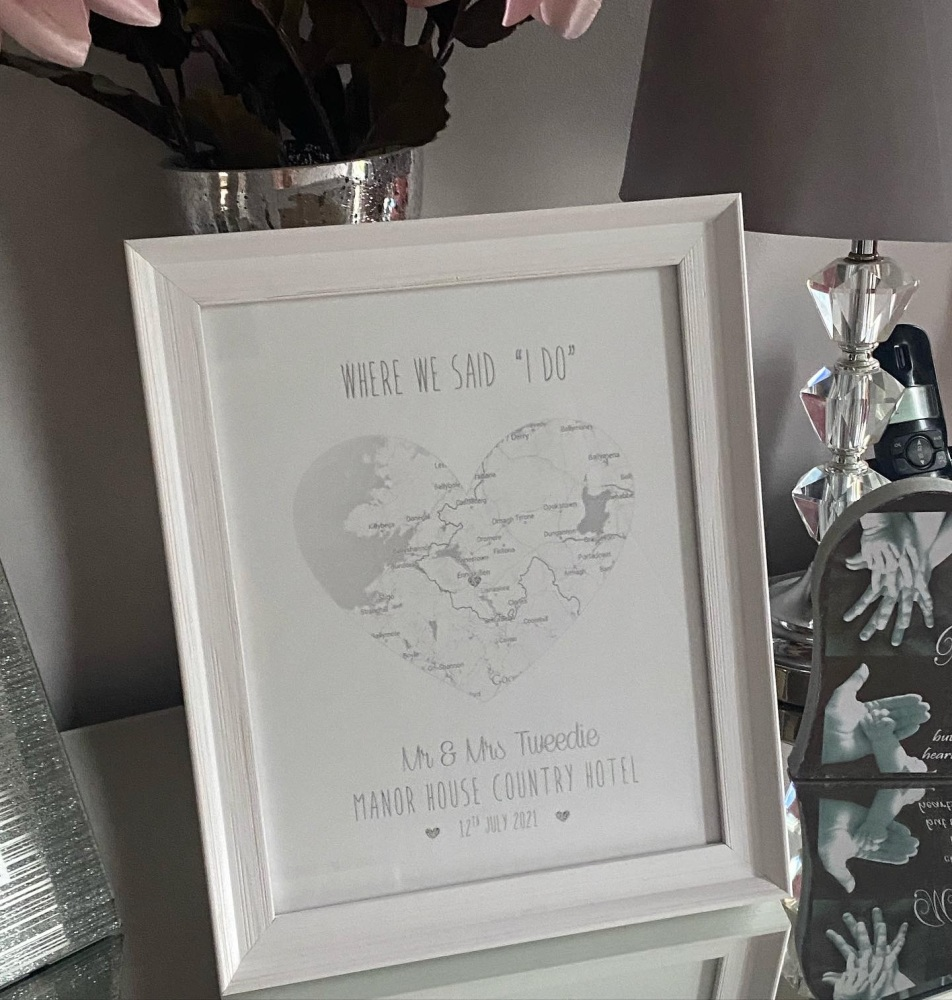 Silver Foil Map with heart   - Engagement, Wedding, Anniversary - Framed