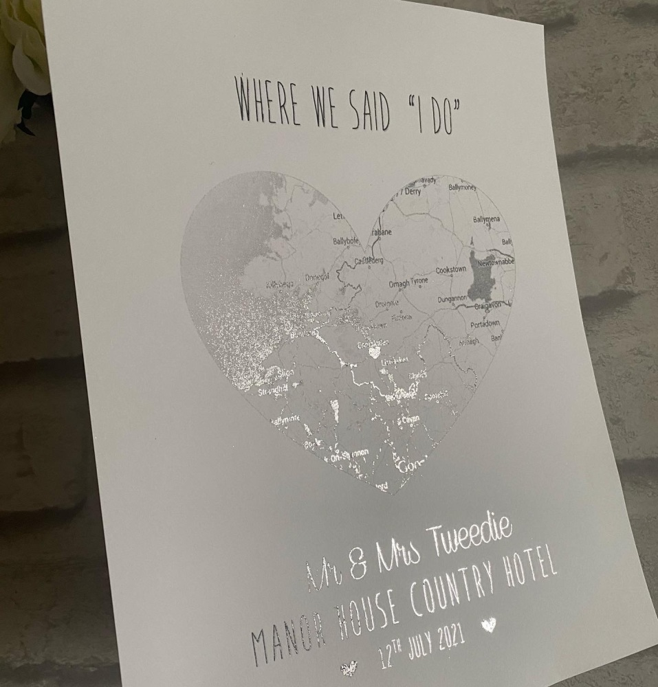 Silver Foil Map with heart Print only  - Engagement, Wedding, Anniversary