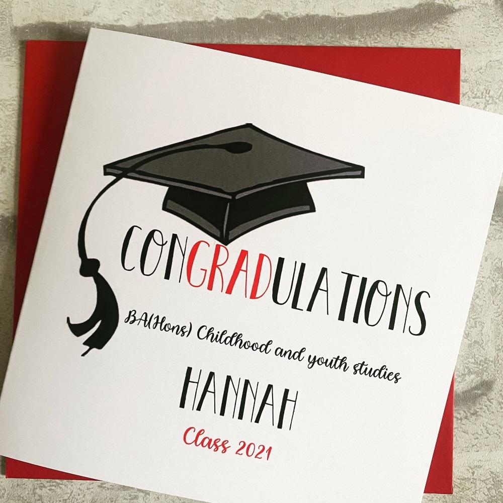 Graduation congratulations card - red