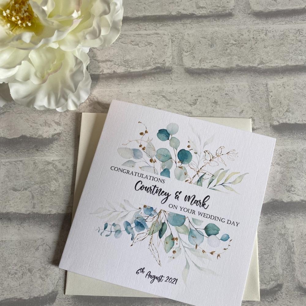 Wedding Congratulations Card - eucalyptus