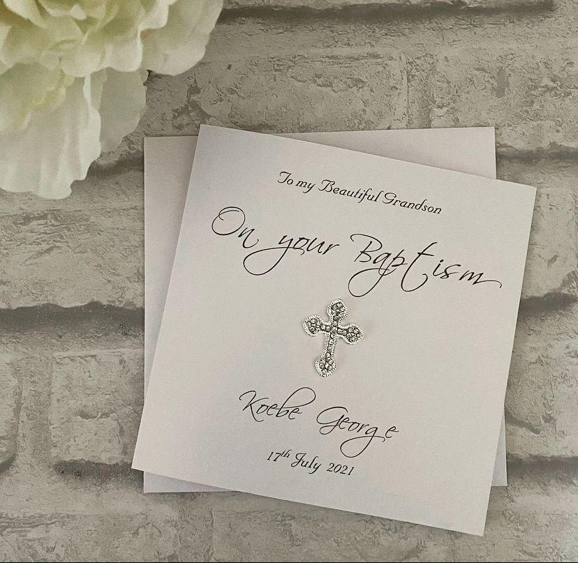 Chic Boutique Range Luxury Christening  / Baptism Card with budded cross em