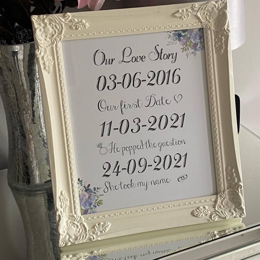 Personalised Our Love Story floral corners