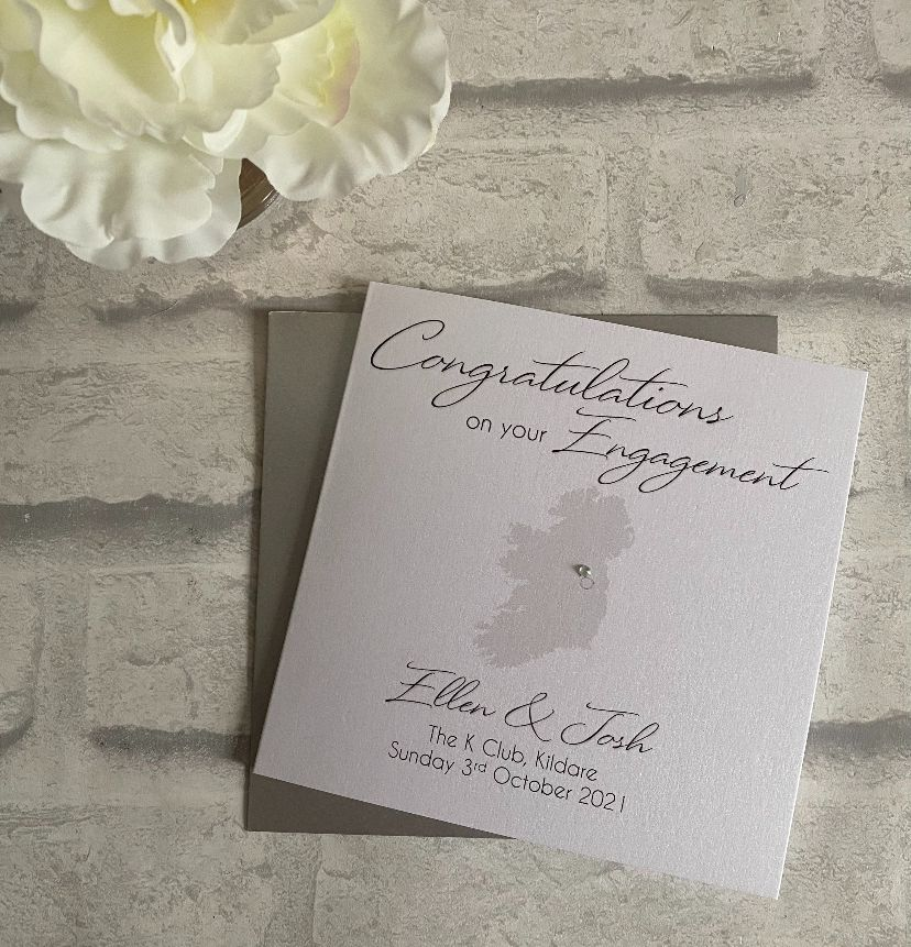 Engagement Congratulations Card with map and ring